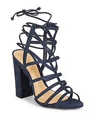 Schutz Leather Open Toe Cage Sandals Sailfish