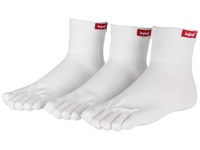 Injinji Sport Original Weight Mini Crew Coolmax 3 Pair Pack White Quarter Length Socks Shoes