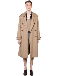 Saint Laurent Precieux Double Breasted Cotton Trench Beige