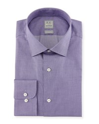 Ike Behar Micro Houndstooth Woven Dress Shirt Purple