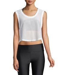 Lanston Killian Mesh Cropped Tank White