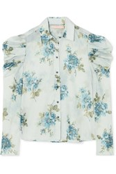 Brock Collection Tanner Floral Print Cotton Voile Blouse Light Blue