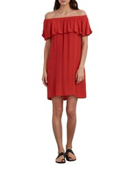 Velvet By Graham And Spencer Chevron Off The Shoulder Dress Red