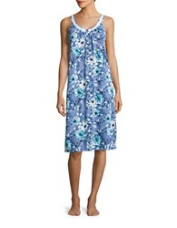 Carole Hochman Floral Nightgown Blue