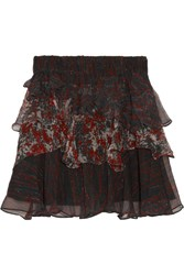 Iro Loey Tiered Printed Crepon Mini Skirt Black