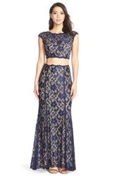 Xscape Evenings Two Piece Lace Gown Blue