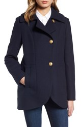 French Connection Women's Back Belt Wool Blend Peacoat Utility Blue