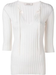 Dorothee Schumacher Ribbed Knit Fitted Top White