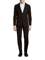 Valentino Solid Two Button Suit Black