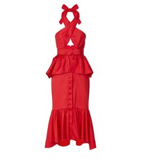 Johanna Ortiz Antillana Peplum Midi Dress Female Red
