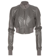 Rick Owens Glitter Flight Leather Cropped Jacket Grey