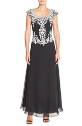 Women's J Kara Embellished Mock Two Piece Gown