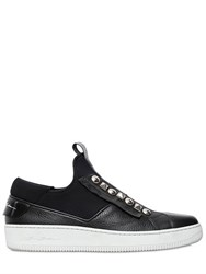 Bruno Bordese Studded Leather And Neoprene Sneakers