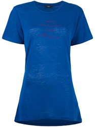 Diesel 'T Sully' Long Embroidered T Shirt Blue