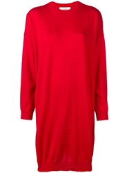 Ports 1961 Round Neck Sweater Dress Red