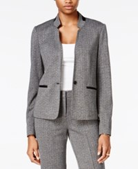 Bar Iii Faux Leather Trim Tweed Blazer Only At Macy's Heather Grey Combo