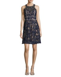 Marchesa Sleeveless Beaded Lace Cocktail Dress Navy