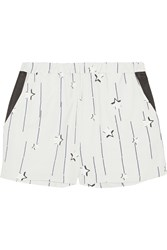 Karl Lagerfeld Selma Star Print Satin Twill Shorts White