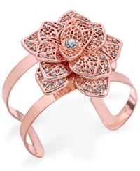 Inc International Concepts Rose Gold Tone Crystal Flower Cuff Bracelet Only At Macy's