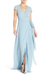 Women's Ceremony By Joanna August 'Aurele' Cap Sleeve Chiffon Wrap Gown