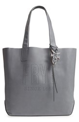 Frye Carson Perforated Logo Leather Tote Grey Steel Grey