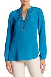 Hale Bob Embellished Long Sleeve Silk Tunic Blue