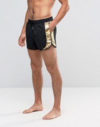 Asos Runner Swims Shorts In Black With Metallic Gold Side Panels In Short Length Black