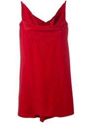Rick Owens Naska Tank Top Women Silk Acetate 40 Red