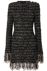 Balmain Button Embellished Frayed Metallic Tweed Mini Dress Black