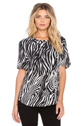 Equipment Riley Engineered Zebra Illusion Print Tee Black And White