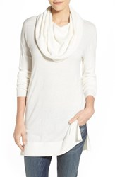Petite Women's Caslon Side Slit Cowl Neck Tunic Ivory Cloud
