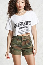 Forever 21 Camo Print Cargo Shorts Olive Brown