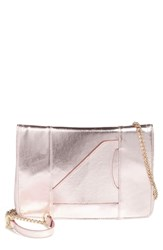 Leith Metallic Faux Leather Clutch Pink