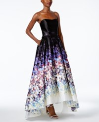 Betsy And Adam Floral Print Strapless High Low Gown Black Floral