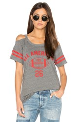 Chaser Striped Sleeve Cold Shoulder Tee Gray