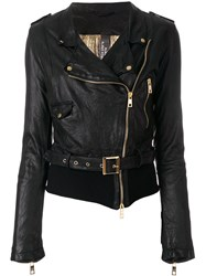 Giorgio Brato Creased Biker Jacket Black