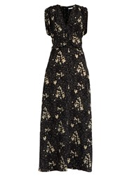 Tomas Maier Flower Field Print Silk Dress Black Print