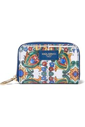 Dolce And Gabbana Printed Patent Leather Wallet Blue