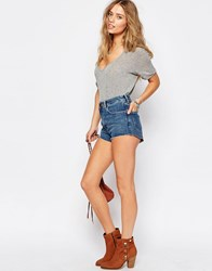 Asos Denim Shorts With Dolphin Hem In Waterfall Mid Wash Waterfall Midwash