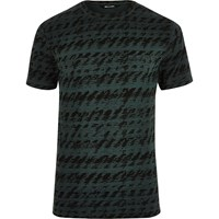 Only And Sons River Island Mens Green Black Two Tone T Shirt