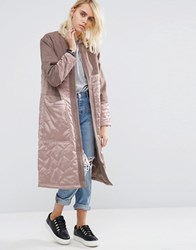 Asos Premium Parka With Satin Quilt And Borg Lining Dusty Pink