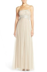 Women's Js Boutique Embellished Mesh Fit And Flare Gown