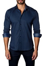 Jared Lang Men's Trim Fit Zigzag Sport Shirt Navy Print