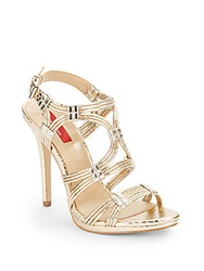 Saks Fifth Avenue Red Adalin Embossed Strappy Open Toe Sandals Gold