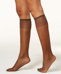 Hanes Silk Reflections Knee Highs Sheers 6 Pack 725 Barely Black