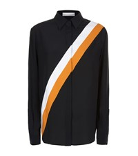 Stella Mccartney Silk Cross Stripe Shirt Female Black