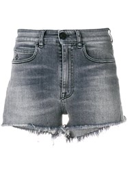 Marcelo Burlon County Of Milan Fitted Denim Shorts Grey
