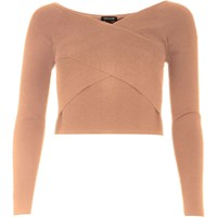River Island Womens Pink Bardot Wrap Crop Top