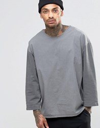 Asos Sweatshirt With 3 4 Woven Sleeves In Charcoal Grey