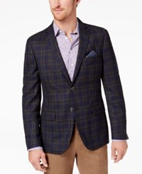 Tallia Men's Big And Tall Slim Fit Charcoal Purple Windowpane Plaid Sport Coat